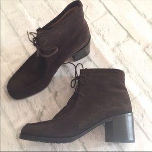 J.Crew brown suede heeled booties
